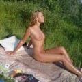 Young russian blonde outdoors fun