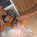 Blonde girlfriend in underwear