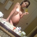 Amazing pregnant girl and her naked selfpics