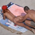 Girl with two boys on nude beach