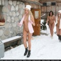 Nudist party in winter