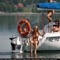 Naked girls sunbathing on the boat