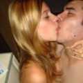 Cute hairy blonde posing with her  boyfriend
