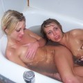 Three lesbian girls in bath