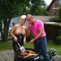 Funny blonde who likes sausages