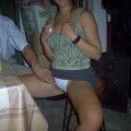 Drunk girl tricked into flashing tits and pussy