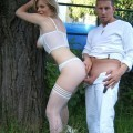 Patti - blonde milf in white lingerie wedding