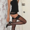 Alice - teen in black stockings and sheer panties