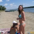 Curly nudist teen at lake