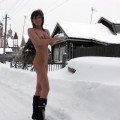 Pretty brunette nude in the snow