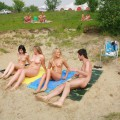 3 girls nude at the lake