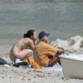 Nudist daughter and father at the beach cmnf